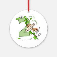 Stick Monkey Swing 2nd Birthday Ornament (Round)