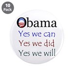 "Obama: Yes we will 3.5"" Button (10 pack)"
