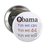 "Obama: Yes we will 2.25"" Button"