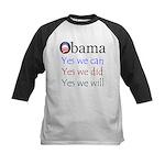 Obama: Yes we will Kids Baseball Jersey