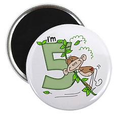 Stick Monkey Swing 5th Birthday Magnet