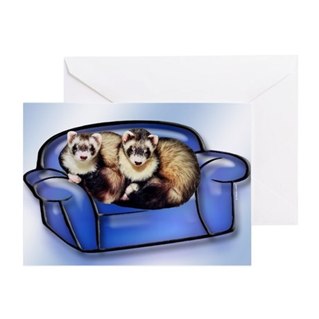 Ferrets On Couch Greeting Card