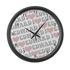 I love Edward Large Wall Clock