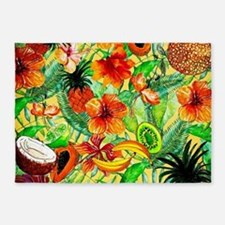 Tropical Summer Fruit Exotic Patter 5'x7'Area Rug