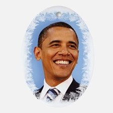 Obama Frosted Oval Ornament