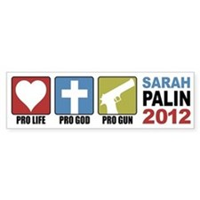 Pro Life, Pro God, Pro Gun Pa Bumper Car Sticker