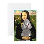 Mona Lia/Std Poodle (silver) Greeting Card