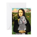Mona Lia/Std Poodle (silver) Greeting Cards (Pk of