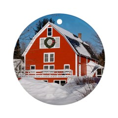 Kinhaven Winter Barn Ornament with Red Ribbon