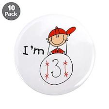 "Baseball I'm 3 3.5"" Button (10 pack)"