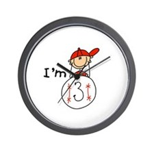 Baseball I'm 3 Wall Clock