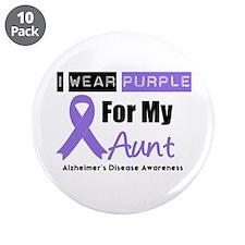 "I Wear Purple Aunt 3.5"" Button (10 pack)"