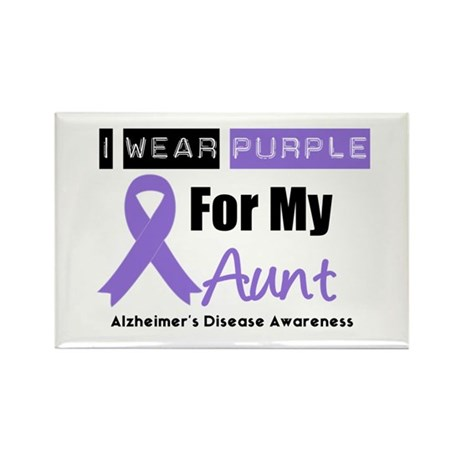 I Wear Purple Aunt Rectangle Magnet