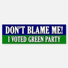 I voted Green Party Bumper Car Car Sticker