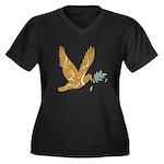 Golden Dove Women's Plus Size V-Neck Dark T-Shirt