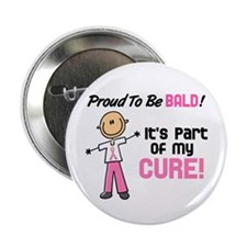 "Bald 1 Breast Cancer (SFT) 2.25"" Button (10 pack)"