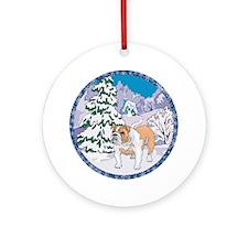 Winter Wonderland Bulldog Ornament (Round)