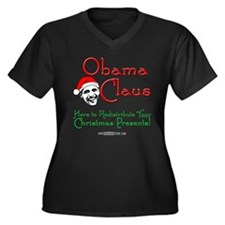 Obama Claus! Women's Plus Size V-Neck Dark T-Shirt