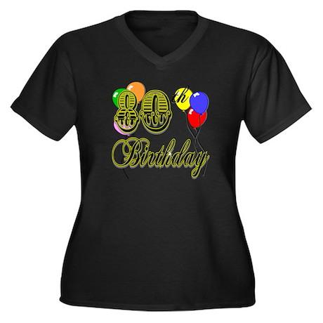 80th Birthday Women's Plus Size V-Neck Dark T-Shir