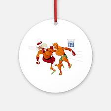 Battle Over Xmas: Jesus vs. Santa Ornament (Round)