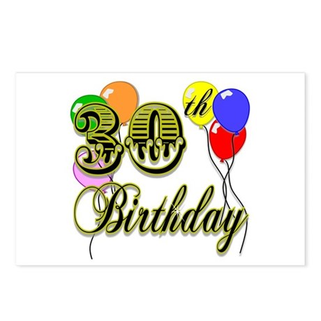 30th Birthday Postcards (Package of 8)