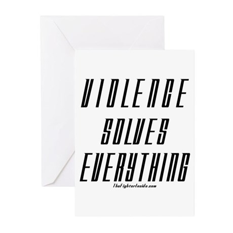 Violence Solves Everything Greeting Cards (Pk of 2