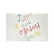 I Love Heart Bee-rack Obama Rectangle Magnet (10 p