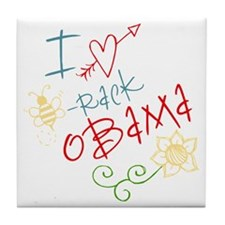 I Love Heart Bee-rack Obama Tile Coaster