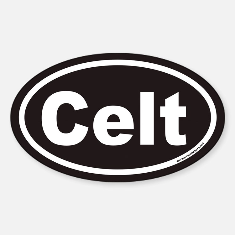 Celt Euro Oval Sticker with Black Background