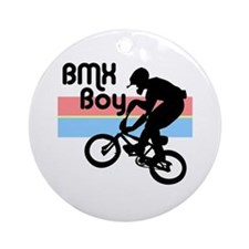 1980s BMX Boy Ornament (Round)