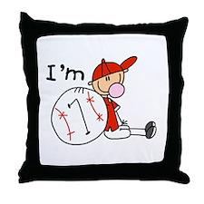 Baseball I'm 7 Throw Pillow