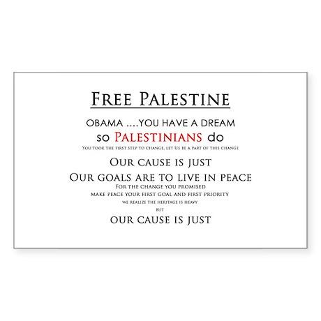 Obama & the Palestinian dream Rectangle Sticker