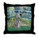 Bridge/Std Poodle silver) Throw Pillow