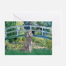 Bridge/Std Poodle silver) Greeting Card