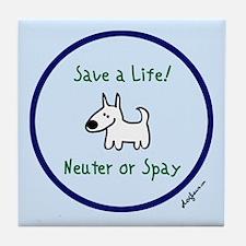 Save a Life! Spay & Neuter Tile Coaster