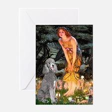 Midsummer/Std Poodle (silver) Greeting Card