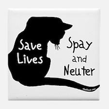 Save Lives (Cat) Spay & Neute Tile Coaster