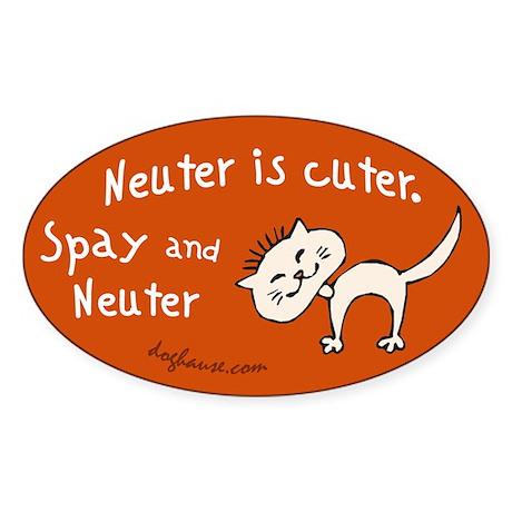 Neuter Is Cuter Sticker (Oval)