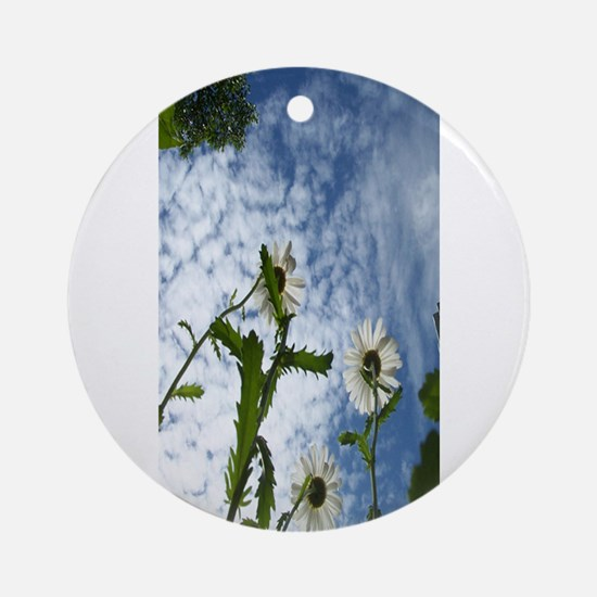 white flowers in the sky Ornament (Round)