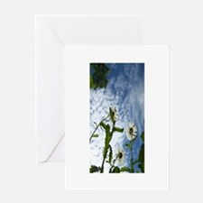 white flowers in the sky Greeting Card