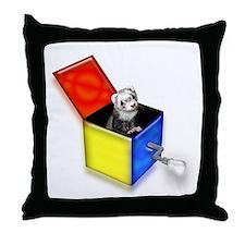 Ferret Jack-In-The-Box (white) Throw Pillow