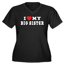 I Love My Big Sister Women's Plus Size V-Neck Dark