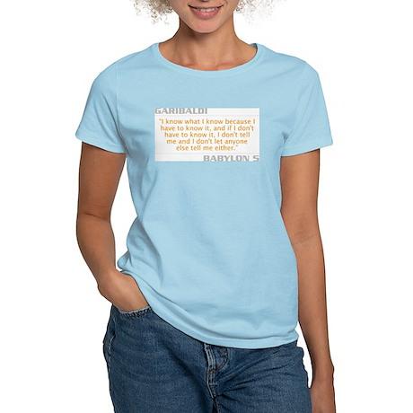 """Garibaldi """"I Know What I Know"""" Women's Light T-Shi"""