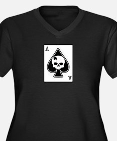 The Ace of Spades Women's Plus Size V-Neck Dark T-