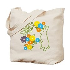 flower bunny Tote Bag w/ back