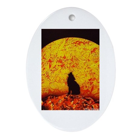 Coyote Sunset Oval Ornament