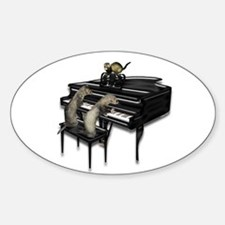 Piano with Three Ferrets Oval Decal