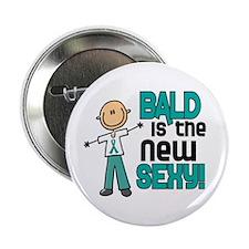 "Bald 6 Teal (SFT) 2.25"" Button"