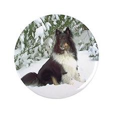 """Winter Pine Sheltie 3.5"""" Button"""