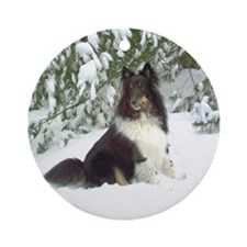 Winter Pine Sheltie Ornament (Round)